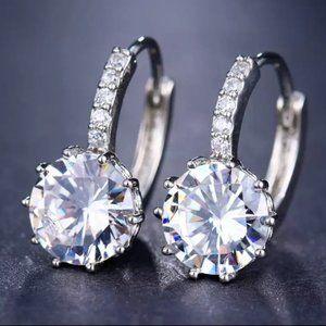 NEW 8CT Solitaire Diamond 925 Silver Hoop Earrings